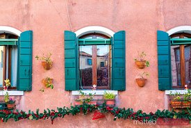 Typical window decorated for Christmas, Venice, Italy