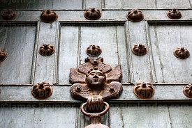 Detail of door knocker on entrance of the Temple of the Holy Family / Templo de la Sagrada Familia, Cusco, Peru