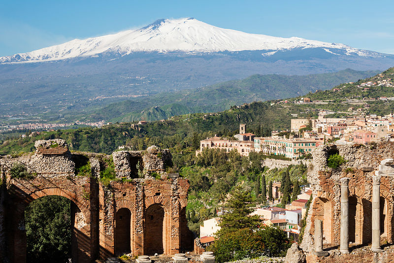 View of Mt Etna and Taormina from The Ancient Greek Theatre