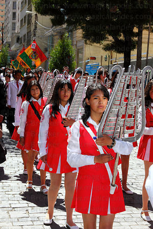 College groups parade through streets for Dia del Mar / Day of the Sea , La Paz , Bolivia