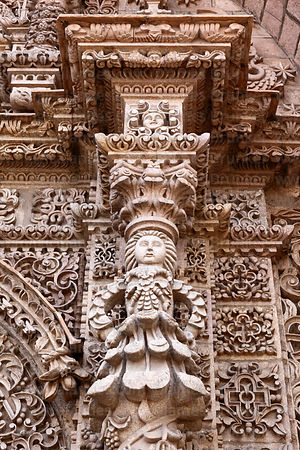 Stone figure carving detail on entrance facade , San Lorenzo church, Potosí, Bolivia