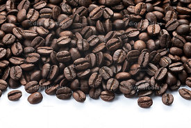 Coffee beans on white background.