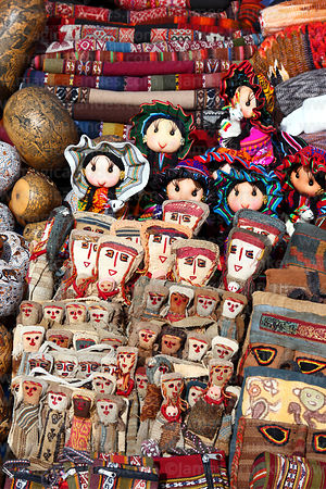 Textile dolls for sale in Chinchero market, near Cusco, Peru