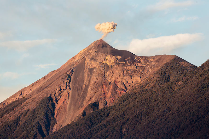 Volcán Fuego Sending out a Small Ash Cloud