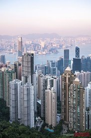 Hong Kong skyline from Victoria peak at sunset