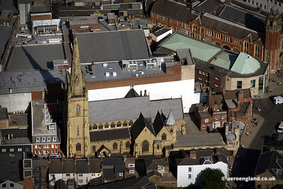 aerial photograph of Sheffield Catholic Cathedral , the  Cathedral Church of St Marie
