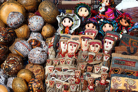 Textile dolls and gourds for sale in Chinchero market, near Cusco, Peru