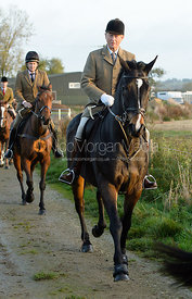 Nicholas Leeming leaving the meet - The Cottesmore Hunt at the kennels 21/10