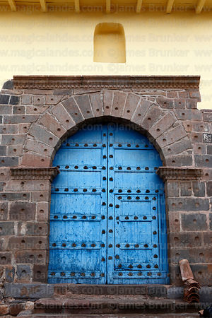 Side entrance to San Blas church, Cusco, Peru