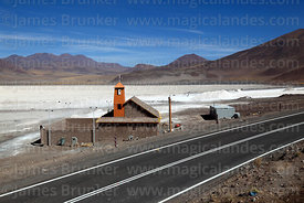 Church next to Route 21 and Salar de Ascotan, Region II, Chile