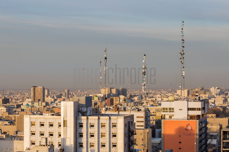 Elevated View of Communications Towers in Tehran at Sunrise