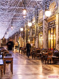 Caffe Florian, St Mark's square at Christmas, Venice