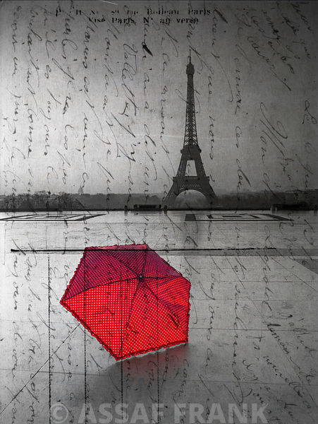 Red umbrella in front of the Eiffel tower with handwritting overlay