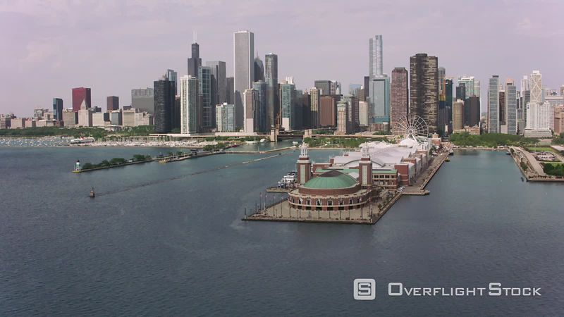 Chicago, Illinois Flying over Navy Pier towards downtown Chicago.  Shot with Cineflex and RED EpicW Helium.