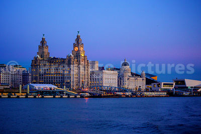 The Three Graces and the Museum of Liverpool across the River at Dusk