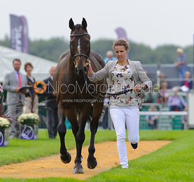 Polly Jackson and HIGHLAND CHARM - The first vets inspection (trot up),  Land Rover Burghley Horse Trials, 3rd September 2014.