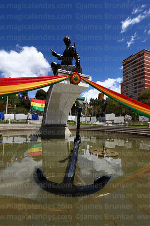 Monument to Pacific War hero Eduardo Avaroa decorated with colours of Bolivian flag for Dia del Mar / Day of the Sea (23rd March), Plaza Avaroa, La Paz, Bolivia