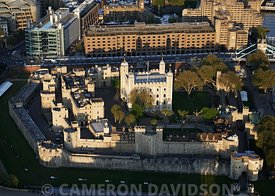 Late afternoon aerial photograph of the Tower of London