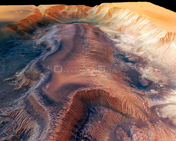 MARS Hebes Chasma -- 16 Sep 2005 -- Perspective view (which is similar to looking out of an aircraft window) of the Hebes Chasma of Mars,