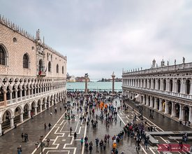 St Marks square and Doges palace, high angle view, Venice