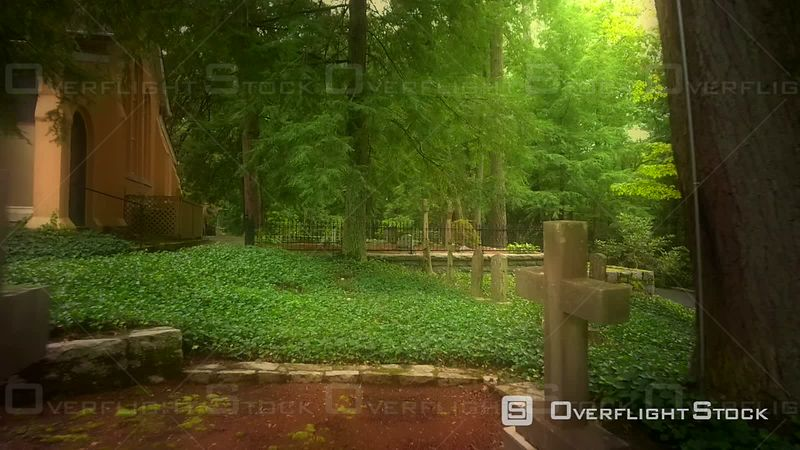 Graveyard From The 1800's Around Historic Church In Woods North Carolina