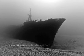 black and white Underwater photo of the Hai Siang wreckage