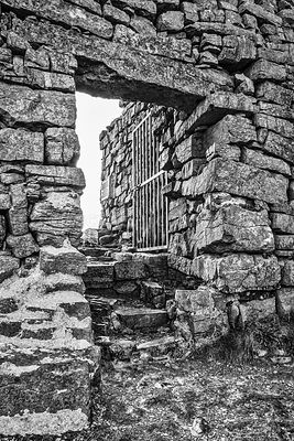 Gate to Dun Aengus Ring Fort (B&W)- Inis Mor, Ireland