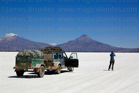 Crossing the Salar de Coipasa, Tata Sabaya volcano in background, Oruro Department, Bolivia