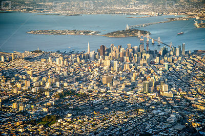 Downtown San Francisco and Oakland Bay Bridge California