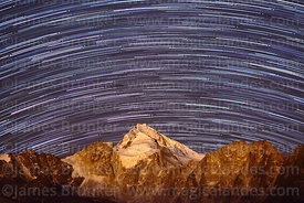 Star trails over Mt Huayna Potosí, Cordillera Real, Bolivia