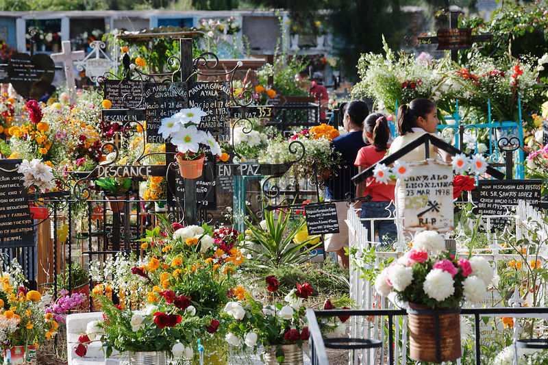 Graveyard decorated for Day of the Dead