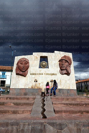 Monument to Manca Capac and his wife Mama Uqllu in Limacpampa, Cusco, Peru