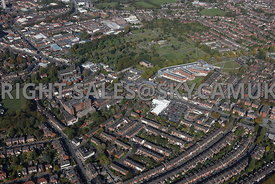 Stockport aerial photograph of Buxton Road A6 over looking Heaviley and Aquinas college