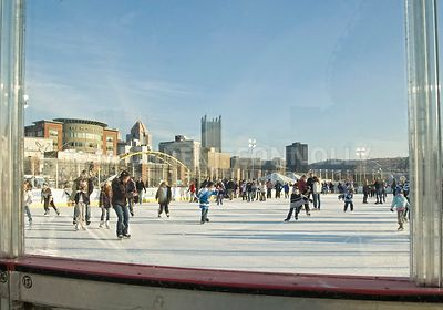 Ice Skating Rink & Pittsburgh Skyline