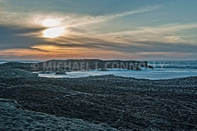 Sunset Over Icy Lake Erie