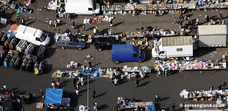 aerial photograph of car boot sale / Sunday market  at the Wholesale Markets Precinct, Pershore Street, Birmingham, B5 6UN.