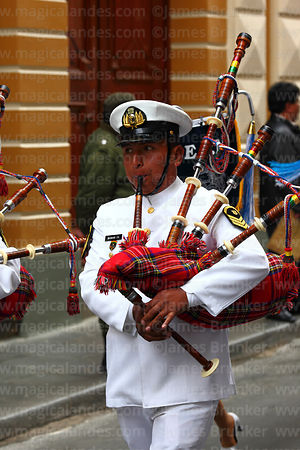 Navy band musician playing bagpipes during Independence Day parades, La Paz, Bolivia