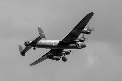 Avro Lancaster PA474 taking off  black and white version