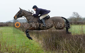 Charlotte Wright jumping a hedge at Sheepwash - The Belvoir at Mount Pleasant