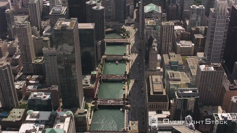 Chicago, Illinois Daytime aerial shot of downtown Chicago and Chicago River.  Shot with Cineflex and RED EpicW Helium.