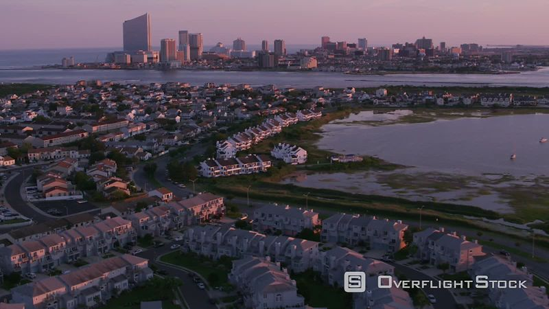 Atlantic City, New Jersey Aerial view of homes with Atlantic City in distance.  Shot with Cineflex and RED EpicW Helium.