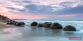 Moeraki boulders at sunset, Otago peninsula, New Zealand