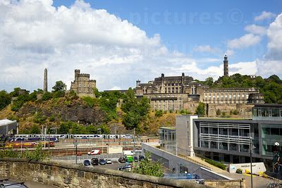 View across Waverley Station Platforms towards Calton Hill