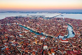 Aerial of Grand Canal at sunrise, Venice, Veneto, Italy