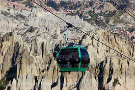 Green Line cable car gondola and earth / rock formations, La Paz, Bolivia