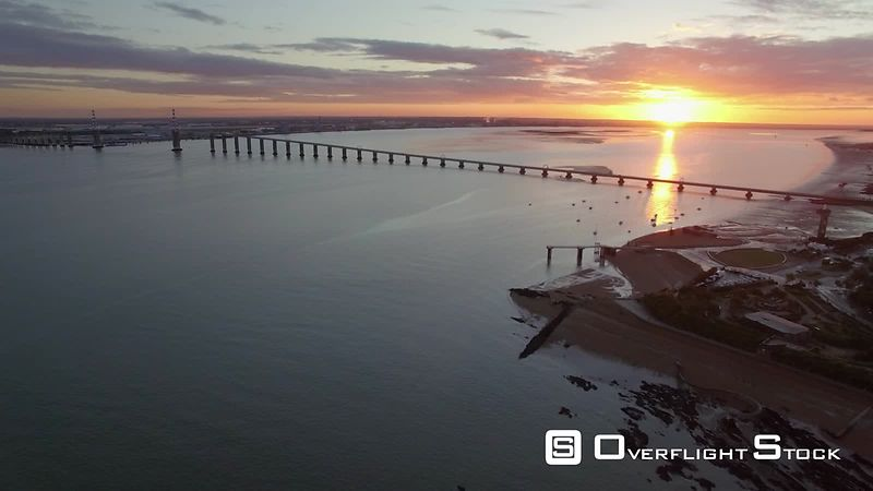 Aerial view of Saint-Nazaire Bridge at sunrise, filmed by drone, France