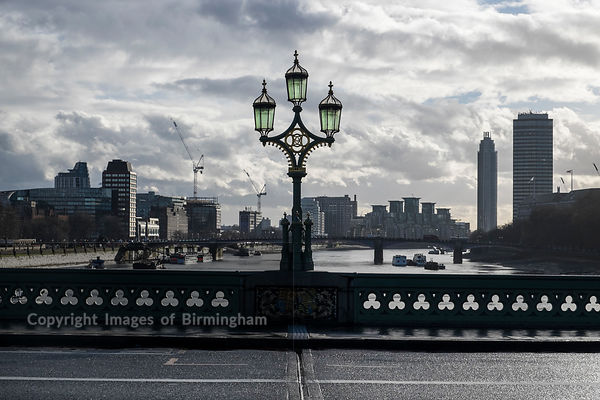 A street lamp on Westminster Bridge, London