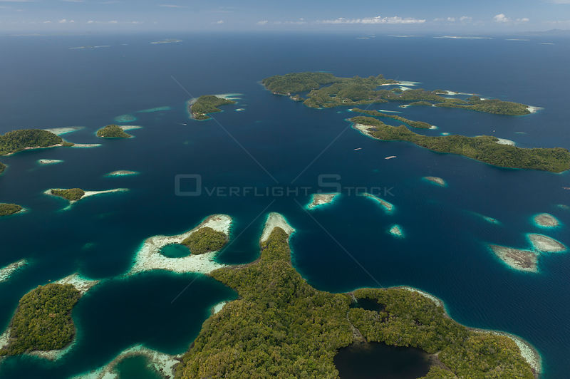 Aerial view of Raja Ampat's islands, sand cays and lagoons. West Papua, Indonesia, February 2010