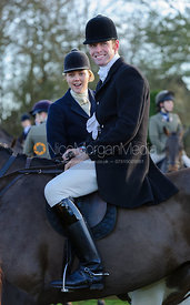 Billy Morley and Lucy Holliday at the meet - The Belvoir Hunt at Waltham House