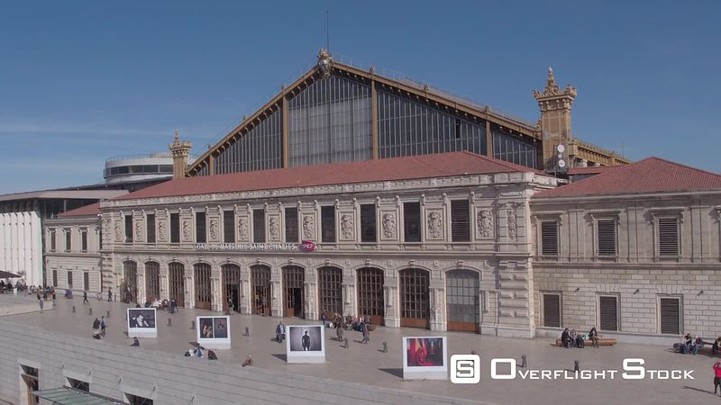 Aerial view of Marseille Saint-Charles Train Station, filmed by drone, Marseille, France